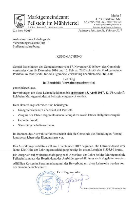 Stellenausschreibung Lehrling Für Die Allg Verwaltung Peilstein